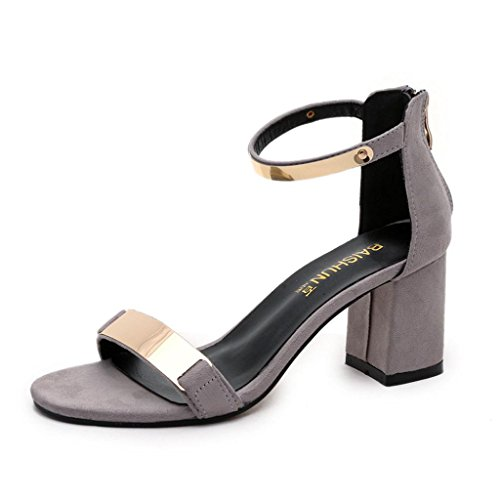 Block Shoes Chunky Heel Shoes Strap Summer Womens Platform Open Kingfansion Toe Clearance Sandals Gray Ankle vRxqRgdU
