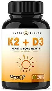 Vitamin K2 MK7 with D3 Supplement for Strong Bones & Healthy Heart - Premium Vitamin D & K Complex - 5000 IU of Vitamin D 3 & 100 mcg of MenaQ7 Vitamin K 2 MK-7-60 Small Vegan Capsules