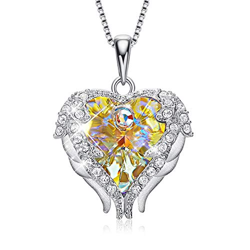 (CDE Necklace for Women S925 Sterling Silver Heart Pendant Necklace Embellished with Crystals from Swarovski Jewelry for Women)