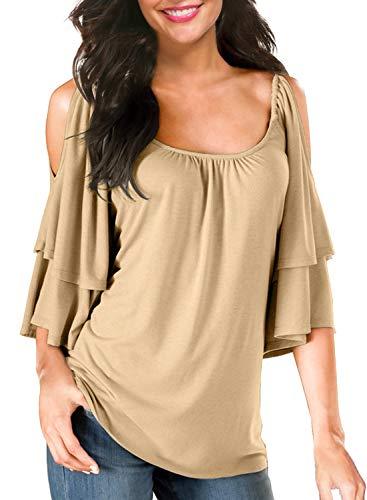 [해외]BBX Lephsnt 여성의 여름 차가운 어깨 경례 군 악 소매 느슨한 스트레치 탑 튜 닉 블라우스 셔츠 / BBX Lephsnt Women`s Summer Cold Shoulder Ruffle Sleeve Loose Stretch Tops Tunic Blouse Shirt