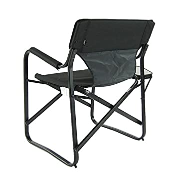 Couple Set 2 Pieces – Aluminum Portable Folding Deck Chair with Side Table Black Camping Chair Directors Chair Outdoor Chair Campers Chair Garden Chair Tailgating rv