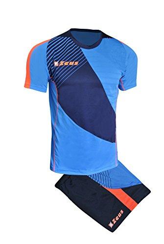 Zeus Kit Alex Herren Fußball Trikot Shirt Hosen Klein Armel Kit Fußball Volley Hallenfußball Training Royal Blau Orange (L)