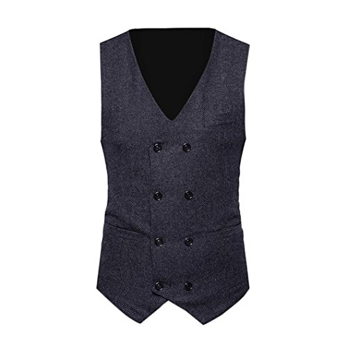 WUAI Men's Jacket Clearance Formal Tweed Check Double Breasted Waistcoat Retro Slim Fit Suit Jacket(Black,US Size XS = Tag S)