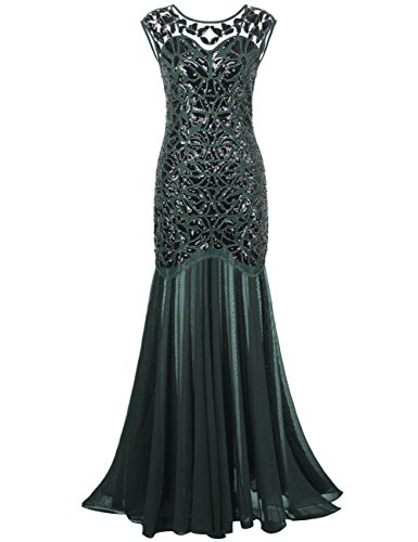 PrettyGuide Women 's 1920s Black Sequin Gatsby Maxi Long Evening Prom Dress, Green - 18/20 Plus
