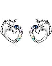 MengCat Eenhoorn-oorbellen voor meisjes, hartvorm, 925 sterling zilver, regenboogzirkonia, oorstekers, sieraden, cadeau voor jou, vrouw, meisjes