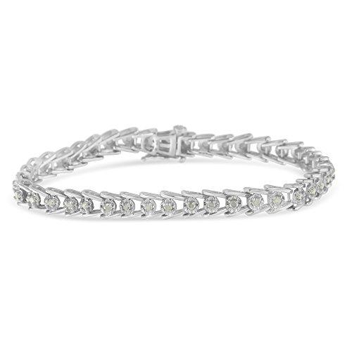 Original Classics Sterling Silver Rose-Cut Diamond Wave Link Bracelet (1 cttw, I-J Color, I3 Clarity)
