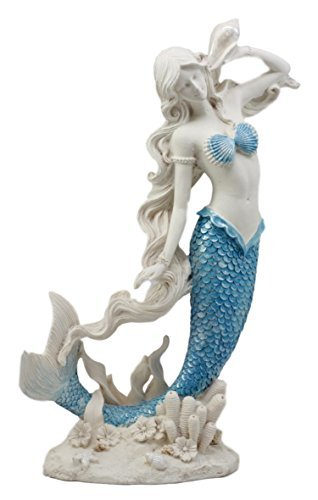 Atlantic Collectibles Aqua Blue Tailed Mermaid Listening to Sconce Figurine 12quot H Ocean Aquamarine Goddess Lita with Coral Reef Decorative Statue