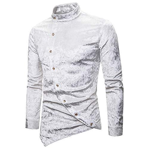 MIS1950s Men's Shirts Casual Button Inclined Cashew Flower Irregular Henry Collar High-Grade Long Sleeve Tops Blouse