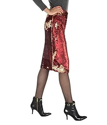 Merci - Falda de Mujer roja con Lentejuelas largas, Fabricada en ...