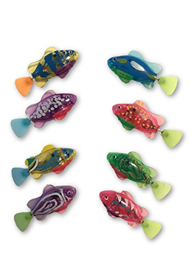 Robo Swimming Fish 8 pcs Electronic Water Activated Clown Fish Toy with (Clown Fish Aquarium)