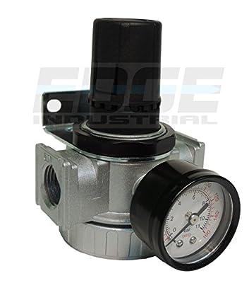 "1/2"" In-line Compressed Air Pressure Regulator, 7 To 150 Psi Adjustable, Bracket, Gauge"