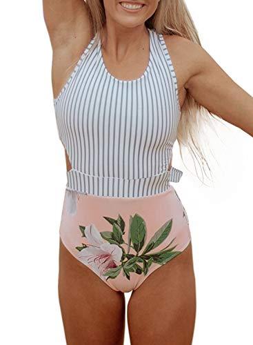 Dokotoo Womens Beach Floral Striped Printed Cutout Padded Racerback Fashion One Piece Swimwear Bathing Suit Swimsuit Monokini X-Large