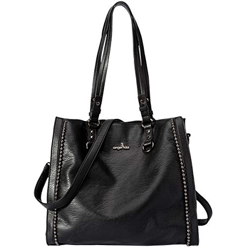 Leather Shoulder Beaded Bag (Angelkiss Women's Leather Tote Bag Top Handle Shoulder Handbags with Zipper Black)