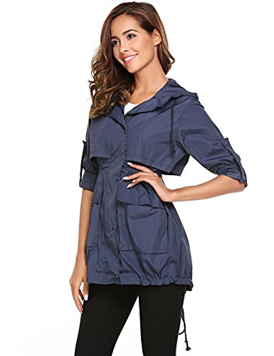 Raincoat Long Meaneor with Jackets Solid Women Lightweight Drawstring Sleeve Hoodie color Champlain ffSq6