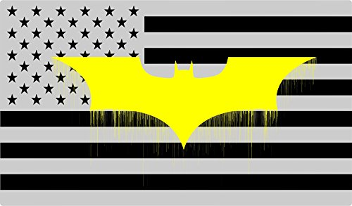 - YELLOW Bat design - Reverse American subdued FLAG - Silver and black - Macbook - Car - Truck Sticker bumper window