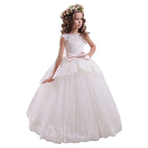 Fancy Lace Floral Appliques Sleeveless Flower Girl Dresses (Custom Size, Picture Color)