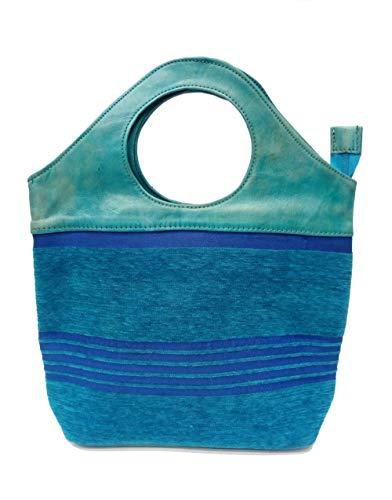 Borsa in a con manici tracolla blu in tinta corti pelle r7rBHq