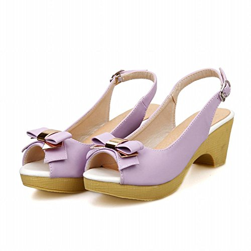 Carol Slingback Bows Mid Shoes Sandals Fashion Heel Platform Cute Purple Women's rxrqw7p