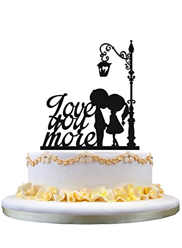 Kissing Couple Cake Topper - Monogram cake topper- love you more cake topper, silhouette of boy and girl kissing under the lamp for wedding party