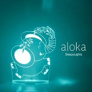 Elefante Luces de Noche para niños RGB LED con mando. Se puede elegir color, luminosidad, horario y mucho mas! De la NUEVA GAMA de Sleepylight de Aloka Designs.