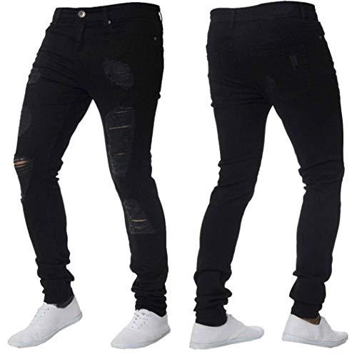 Pantalones Vaqueros Negros para Look Destruido Hombre Slim ...
