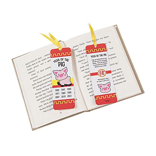 Fun Express Year of The Pig Laminated Bookmarks | 48 Count | Great for Chinese New Year, Party Favors, School Supplies
