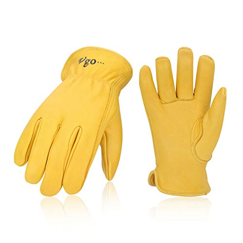 - Vgo Unlined Pro Grade Collection Premium Grain Deerskin Work and Driver Gloves (1Pair,Size L,Gold,DA9501)