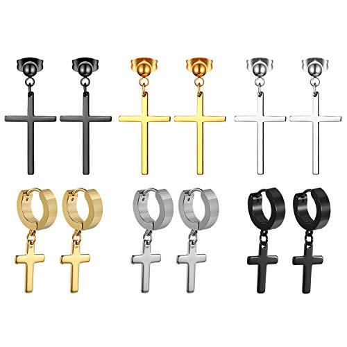 Metal Cross Earrings - Cupimatch 3 Pairs Stud Earrings with Cross Dangle for Men Women, Stainless Steel Cross Pierced Earrings Set, Screw Back (6 Pairs Cross Earrings)