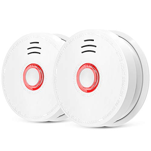 Cheap 2 Pack Smoke Detector, Photoelectric Sensor Fire and Smoke Alarm with 9V Battery Operated, Silence Test Button, Light Sound Warning, UL Listed, 10 Years Life Time