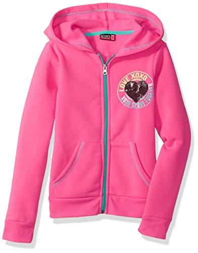 XOXO Girls' Big Fleece Logo Hoodie, Pink Glow, 10/12