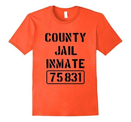 County Jail Inmate Costume (Mens Prisoner County Jail Inmate Costume | Halloween T-shirt Medium Orange)
