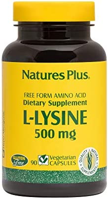 NaturesPlus L-Lysine – 500 mg – Amino Acid Supplement, Commonly Used for Cold Sores, Promotes Gut Health, May Provide Anxiety Relief – 90 Vegetarian Capsules 90 Servings