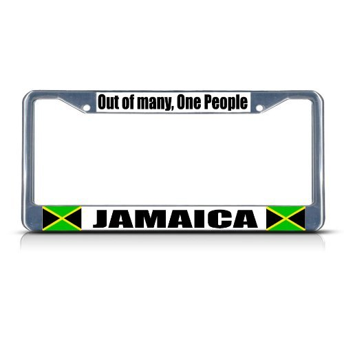 License Plate Covers JAMAICA OUT OF MANY ONE PEOPLE COUNTRY Chrome Study Metal License Plate Frame