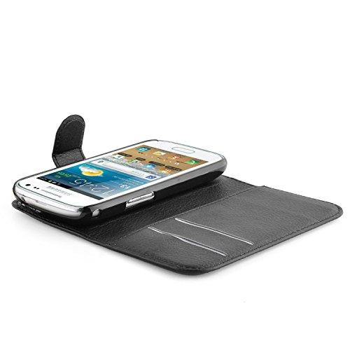 Cadorabo - Funda Samsung Galaxy TREND PLUS (GT-S7580) Book Style de Cuero Sintético en Diseño Libro - Etui Case Cover Carcasa Caja Protección (con función de suporte y tarjetero) en NEGRO-FANTASMA NEGRO-FANTASMA