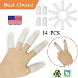 Gel Finger Cots, Finger Protector Support(14 PCS) NEW MATERIAL Finger Sleeves Great for Trigger Finger, Hand Eczema, Finger Cracking, Finger Arthritis and More. (Small size) (White, Small)