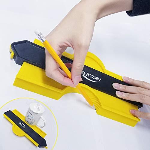 Contour Gauge with Lock, 10 Inch+5 Inch Precisely Copy Irregular Shape Duplicator Welding Woodworking Tracing Tool for DIY Handyman, Corner, Tiles
