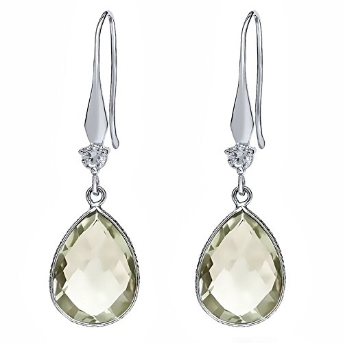 Gem Stone King 13.00 Carat Green Amethyst Pear Shape Sterling Silver Dangle Earrings
