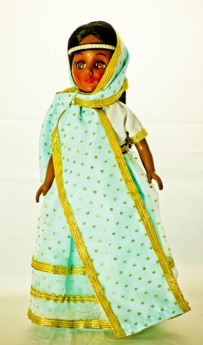1976 - Effanbee Doll Corp - International Series - India Female Doll - Light Blue & Gold Trimmed Dress - Head Band - Brown Eyes / Black Hair - Gold Sandals - Blue Lace Trimmed Slip - Gold Sandals - Out of Production - Mint - Collectible