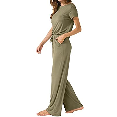 LAINAB Women's Short Sleeve Loose Wide Legs Casual Jumpsuits with Pockets: Clothing