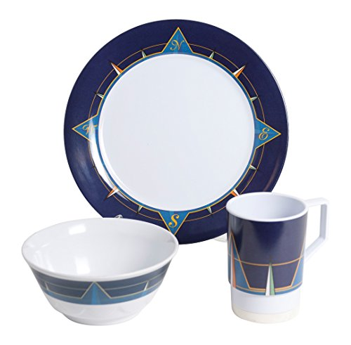 Galleyware Blue Compass 12 Piece Melamine Non-Skid Dinnerware Set (Non Skid Dinnerware)