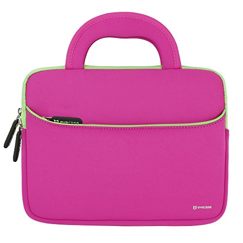 (8.9-10.1 inch Tablet Sleeve, Evecase 8.9~10.1 inch Ultra-Portable Neoprene Zipper Carrying Sleeve Case Bag with Accessory Pocket - Hot Pink/Green)