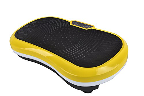Fitness Vibration Platform,Whole Full Body Shape Exercise Machine,Vibration Plate ,Fit Massage Workout Trainer with Two Bands &Remote,Max User Weight 330lbs W/Remote Control (Yellow+White)