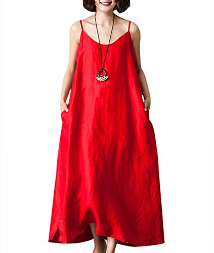 YESNO Women Casual Long Maxi Slip Dress Loose Summer Sundress 'A' Skirt w/Pockets YP6