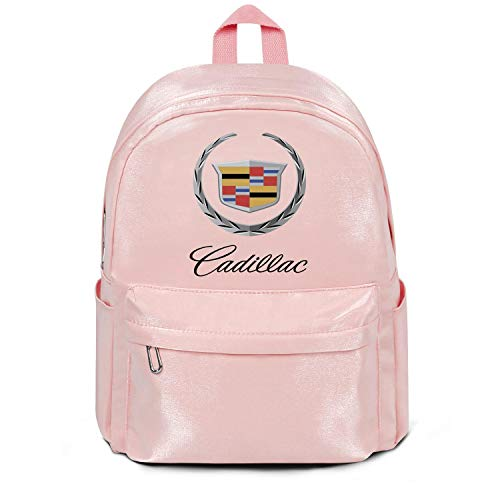 Womens Girl Boys Bag Purse Classic Nylon Water Resistant School Backpack Cadillac-Logo- Bag Purse Pink