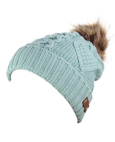 Fur Lined Fleece (Women's Faux Fur PomPom Fleece Lined Knitted Slouchy Beanie Hat - Mint)