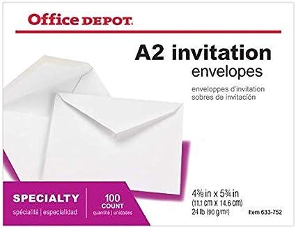 Office Depot invitación sobres, 4 3/8in. x 5 3/4in., color blanco ...