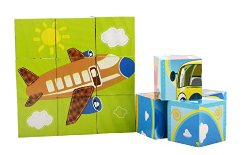 Wjsyshop 9 Piece 3D Wooden Blocks Jigsaw Cube Puzzle Toy With Storage Tray For Kids Children   Helicopter Aircraft Airplane Yacht Motorboat Submarine Space Shuttle Ship Boat