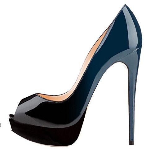 azul MERUMOTE de aguja de tacón negro mujer Zapatos xF1zqwCZ