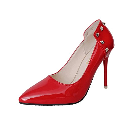 LBDX Zapatos de Tacón Alto de Tacón Bajo, Banquete Zapatos de Tacón Alto de Tacón Alto, Delgado, Sexy, Para Mujer Rojo