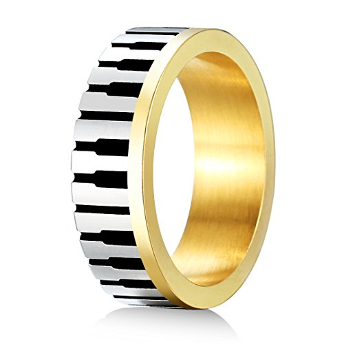 Stainless Steel 18k Gold Plated Wedding Engagement Band Couple Ring - 8